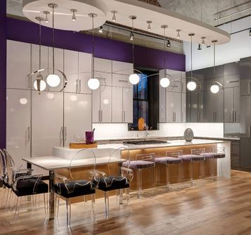 High Gloss Cabinetry Adds Drama To A Contemporary Kitchen Interior Design Center Of St Louis