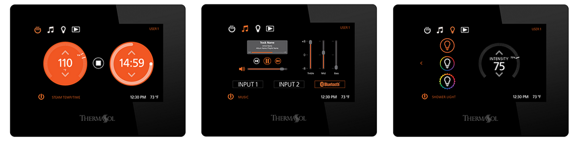 ThermaSol Steam Shower Touchscreen Controls