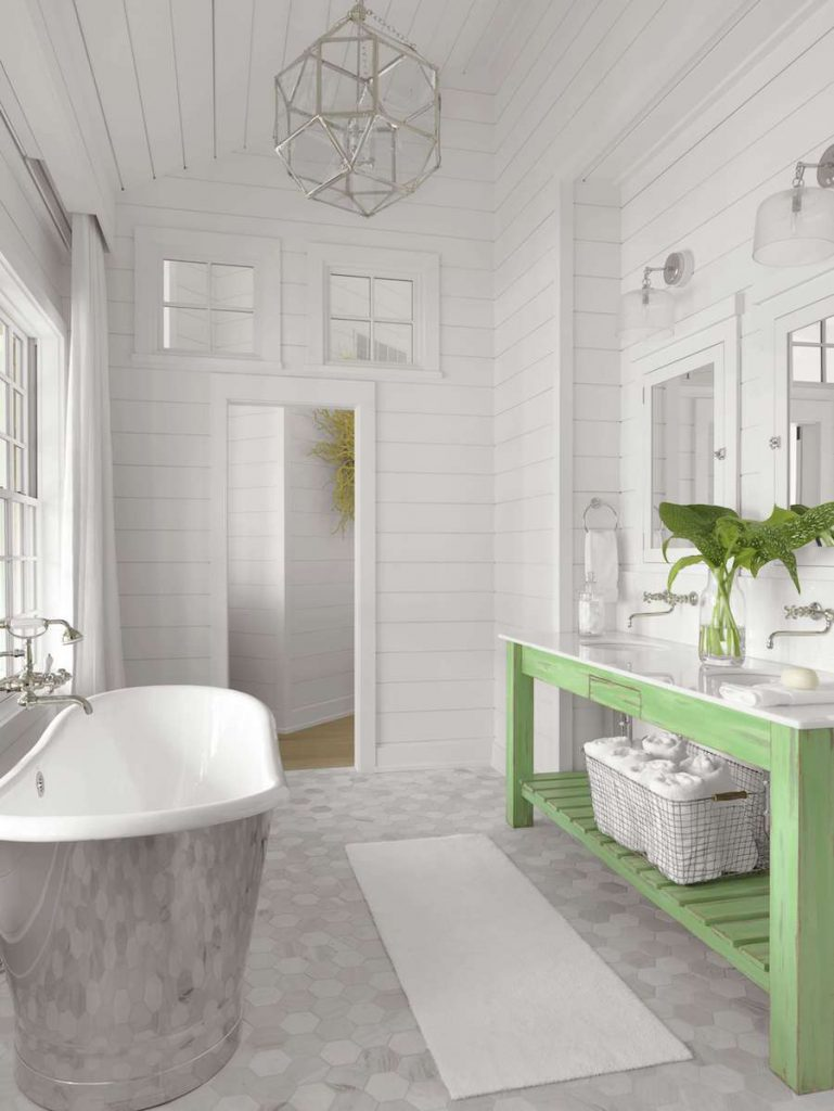 Lake House Master Bathroom Design by Amy Studebaker