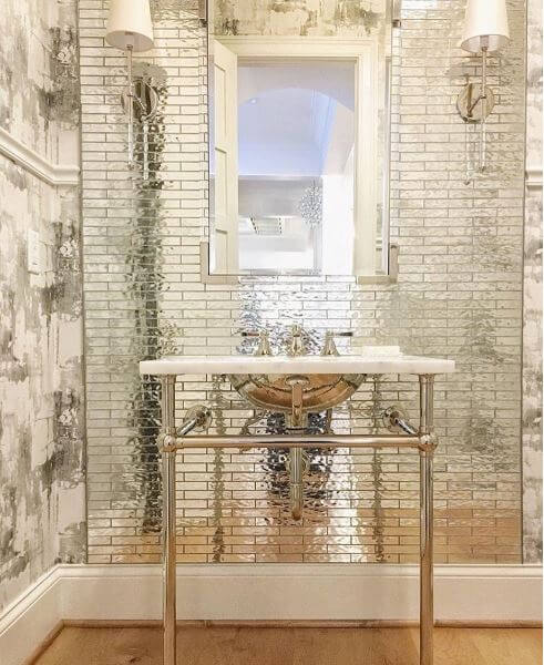 Mirrored Tile Powder Room by Amy Studebaker Design